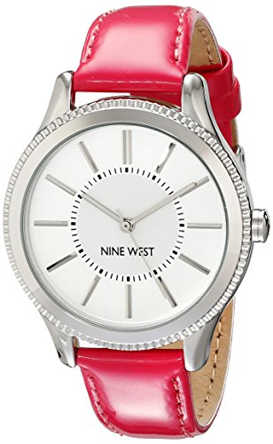 Nine West Damen-Armbanduhr Analog PU  Rosa NW/1703SVPK  (Nine West Damen Uhren)
