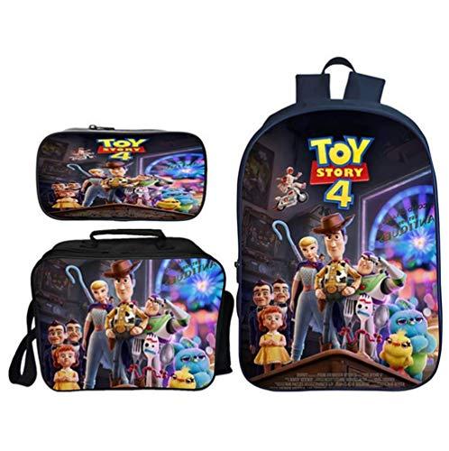 TREES Borsa da Scuola per Bambini Toy Story 4 Set di librerie Scolastiche Zaini per Studenti Set di 3 Pezzi: Zaini scolastici con Pranzo al Sacco Termico e Astuccio,b