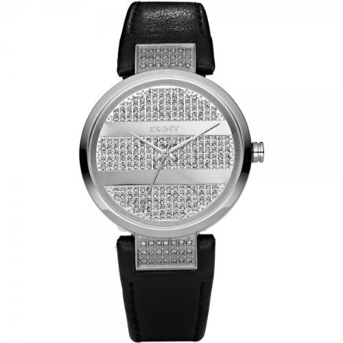 DKNY Ladies Watch NY4976 with Silver Dial and Black Leather Strap