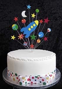 Karen's Cake Toppers Décoration de gâteau en forme de fusée avec étoiles, planètes et Lune Pour gâteau de 20cm