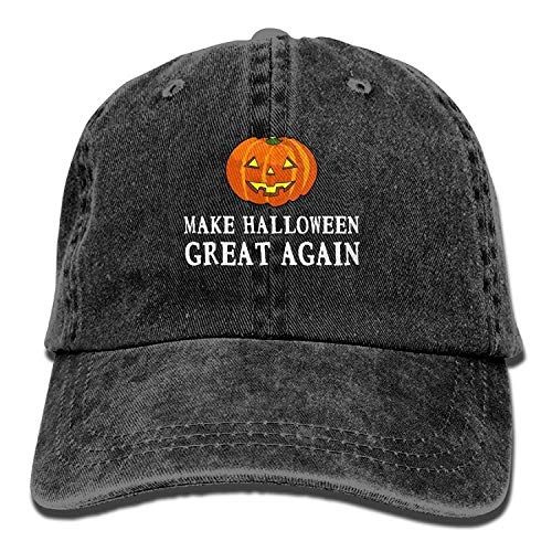 uykjuykj Baseball Cap 2017 Funny Pumpkin Make Halloween Great Again Washed Retro Jeans Cap Gym Caps for Adult Comfortable Trucker Cap Sport for Men Women