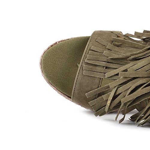 Kanna Chaussures Viena Khaki Sandales Femme Kaki