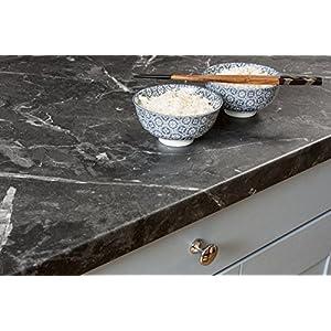 WORKTOPEXPRESS Schwarzer Marmor – Resopal Küchenarbeitsplatten (Aufkantung 3m × 95mm × 12mm)