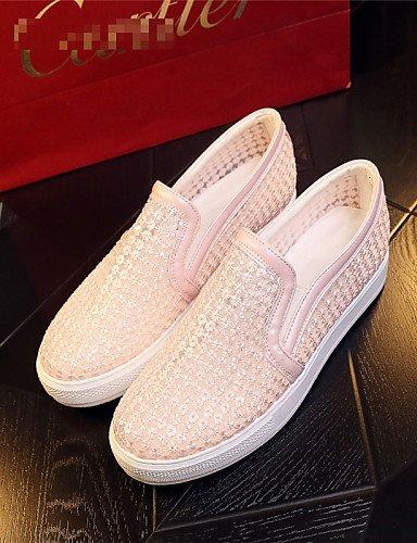 ShangYi gyht Scarpe Donna-Mocassini-Tempo libero / Formale / Casual-Plateau / Comoda-Plateau-Finta pelle-Nero / Rosa / Bianco Pink