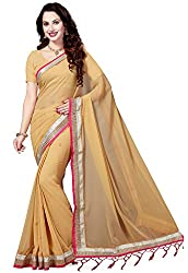 Ishin Faux Georgette Saree With Blouse Piece (Ishinhd-35019_Beige_Free Size)