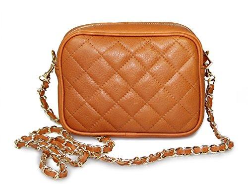 IO.IO.MIO Damen Nappa Leder Handtasche Clutch Schultertasche Umhängetasche gesteppt Damentasche Kettentasche Abendtasche kleine Frauen Handtaschen Crossover Tasche cognac, 19x14x6,5 cm (B x H x T) -