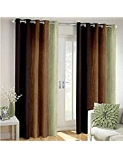 Shree Ram Decor Polyester Blend Long Crush Window and Door Curtain Set of 2