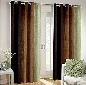 Shree Ram Decor Polyester Blend Long Crush Eyelet Window 5 ft Curtains (Brown) Set of 2