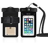 db DBPOWER Wasserdichte Hülle, Wasserfeste Handyhülle, Staubdichte und Stoßfeste Beutel Tasche mit Armband für iPhone 4/4s/5/5s/6/6s/6 plus/6s plus, Samsung Galaxy s3/s4/s5/s6, Note 4/3/2 und Andere Smartphones bis zum 6,0 Zoll (Schwarz)