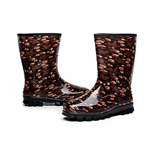 LvRao Damen Hohen Absätzen Lange Stiefel Gummistiefel Wasserdichte Regen Schuhe Hoch Knöchel Boots Langschaft Stiefel Brown Ohne Pelz