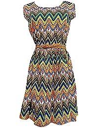 Flora, Damen Minikleid Lässige Eklektische Muster Einstellbare Kurze Ärmel Unterkleid