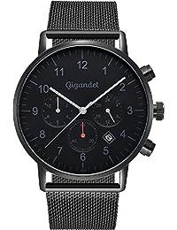 Gigandet Herrenuhr Minimalism II Armbanduhr Edelstahl Herren Zwei Zeitzonen GMT Analog Datum Milanaise Edelstahlarmband Uhr Schwarz Grau G21-007