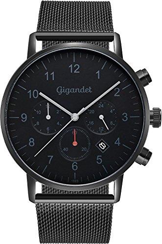 Gigandet Reloj de hombre Minimalism II Reloj de pulsera acero inoxidable hombre Dos Zonas Horarias GMT Analog Fecha Milanaise Acero Inoxidable Reloj de pulsera Negro Gris G21–007
