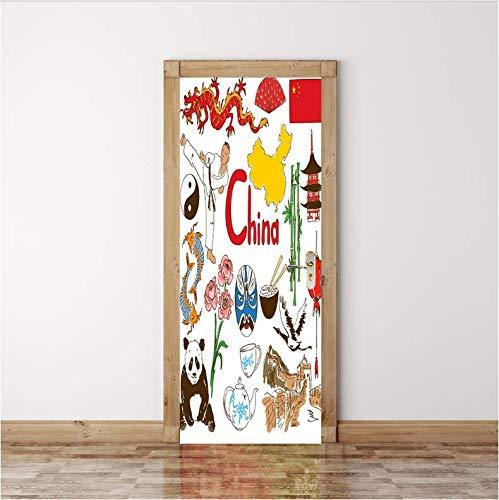ksufnjerls Puerta De Chowder Sticks Elemento Chino Mapa Chino Palos De Puerta Dormitorio Sala De Estar Puerta Pared para Decorar 77x200cm
