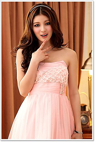 PLAER femmes Soutien-gorge doux robe toast de mariage robe soirée de fête robe cocktail sexy robe rose pâle