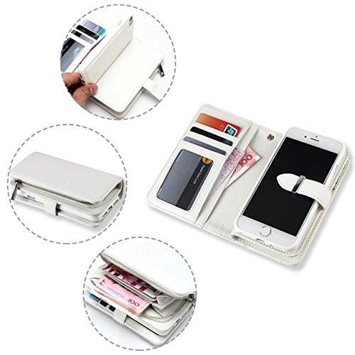 EKINHUI Case Cover Große Kapazität Lichi Haut Beschaffenheit PU-lederner Fall-Mappen-Beutel-Kasten mit abnehmbarer rückseitiger Abdeckung für iPhone 7 ( Color : Black ) White