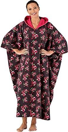 Elegance Poncho à capuche en polaire Long Lounge Pyjama LN113 Floral Taille unique