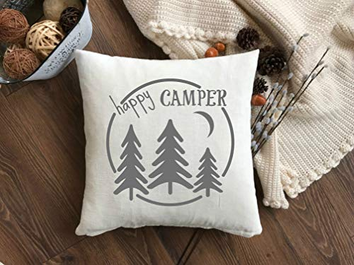 Prz0vprz0v Happy Camper Pillow Cover with Trees Rustic Camper Pillow Cover Throw Pillow Cover with Zipper Happy Camper Pillow Cover Camping Decor Sqaure Cushion Case 18 x 18 Inch Short-throw-arm