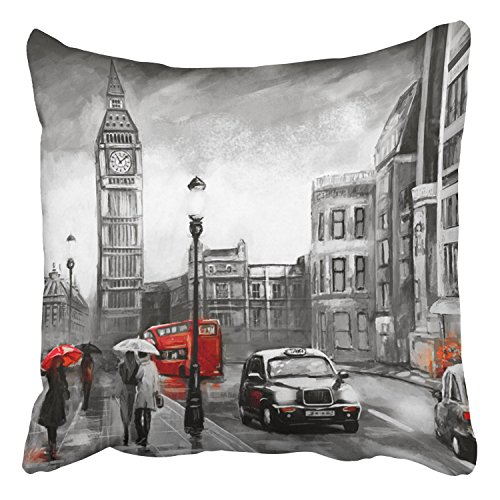 Covers Oil Painting On Canvas Street View London Artwork Big Ben Couple Red Decor Pillowcases Polyester Square Hidden Zipper Home Cushion Decorative Pillowcase 20x20 inch ()