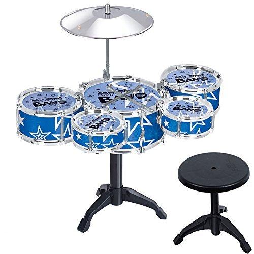 Creation® giocattolo Drum Set per i bambini 11 Pezzo bambini strumenti musicali Drum Playset w / 6 Tamburi, Cembalo, Sedia, Pedale, Bacchette