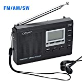 COVVY AM/FM SW1-7 9 Band Portable Radio Receiver with Loud Speak and Earphone, Excellent Reception 12/24H Time Display Digital Radio, Backlight, Sleep, Ascending Alarm, Battery Operated