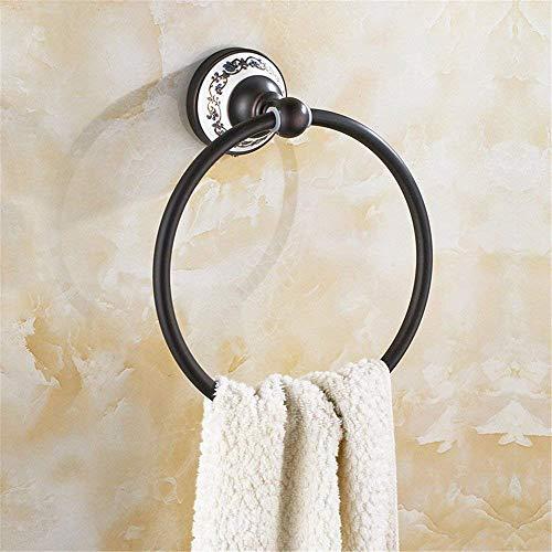 Willsego Kupfer Schwarz Antike Badetuchhalter Handtuchhalter Kit, Kleiderhaken (Farbe : Towel Ring) -