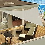 Dreieck-Sonnensegel Sonnenschutz für Außenbereich Schutz vor UV-Strahlung inklusive Seile zur Verankerung erhältlich in verschiedenen Farben und Größen 3x3x3 m elfenbein