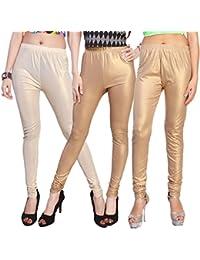 Comix Cotton Silk Fabric Women Shiny Leggings Combo Set Of 3 (AGSPL-3136-LG-10-CMB3)