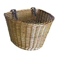 WOVELOT Retro, Handmade, Wicker Bicycle Front Basket with Leather Straps
