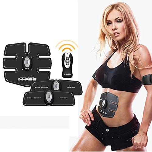 IMATE Intelligent Wireless Abs Muskeltrainer, Tragbar EMS Toner Gürtel für Bequem Männer und Frauen - 15 Intensitäten des Trainings (Weiße) (Schlüssel Trainer Pro)
