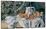 Paul Cézanne - Stillleben mit Gardine (1895), 120 x 80 cm (Dreiteiler, 3 x 40x80cm) (weitere Größen verfügbar), Leinwand auf Keilrahmen gespannt und fertig zum Aufhängen, hochwertiger Kunstdruck aus deutscher Produktion