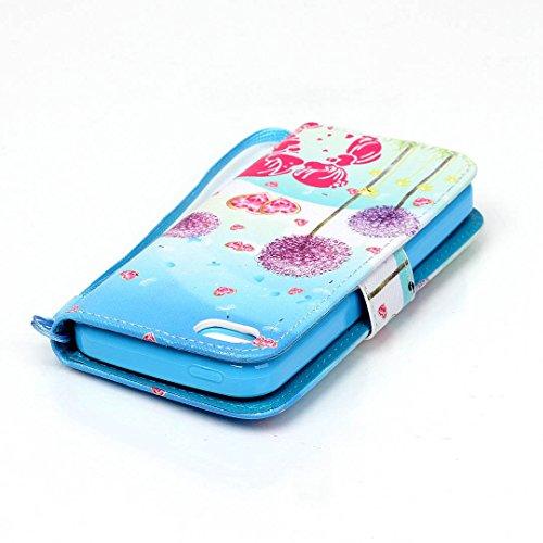 iPhone 5C Hülle im Bookstyle, Xf-fly® PU Leder Flip Wallet Case Cover Schutzhülle für Apple iPhone 5C Tasche Handytasche Schutz Etui Schale Handyhülle P-4