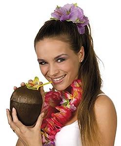 Boland - 52365-Vaso de tragos con diseño de coco y sorbete Coconut Cup Hawaii, marrón