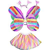 BESTOYARD Mädchen Fee Prinzessin Kostüm Schmetterling Flügel Fee Zauberstab Stirnband und Tutu Rock Rosa 4er Set