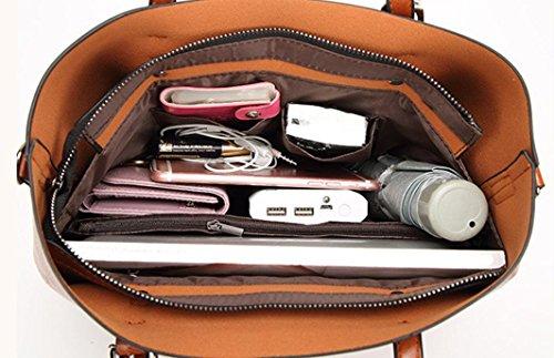 fashionladies Damen-Umhängetasche Schultertasche Tote Bucket Bag Messenger Bag mit innen Taschen Nützliche Organizer rose Size:�?2cm(L)*12cm(W)*29cm(H) grau