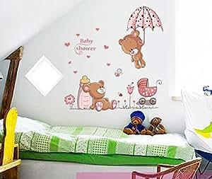 ufengke niedlichen baby b ren und blumen dach wandsticker. Black Bedroom Furniture Sets. Home Design Ideas