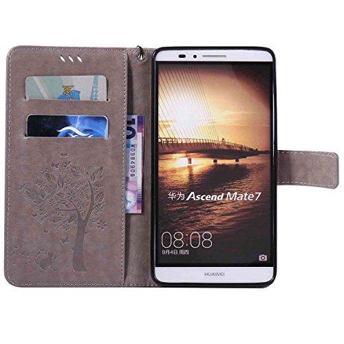 Guran® PU Leder Tasche Etui für iPhone 6 6S (4.7 zoll) Smartphone Flip Cover Stand Hülle und Karte Slot Case-grau grau