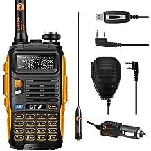 Baofeng GT-3 - Walkie-Talkie UHF/VHF dual band , incluye cable USB para programación y micrófono con altavoz sin cables