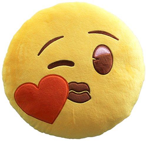 Emoji Smile Corazón Cojín Bordado Beso Oficial, Poliéster, Amarillo, 32x32x15 cm, 6 Unidades