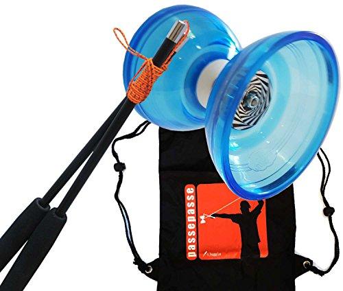 PassePasse Cloudbuster III Diabolo 115mm mit triple Lagern Achse - Hellblau - Handstab aus Carbon ausgestattet mit Diaboloschnur Slide - 'iJuggle' Rucksack