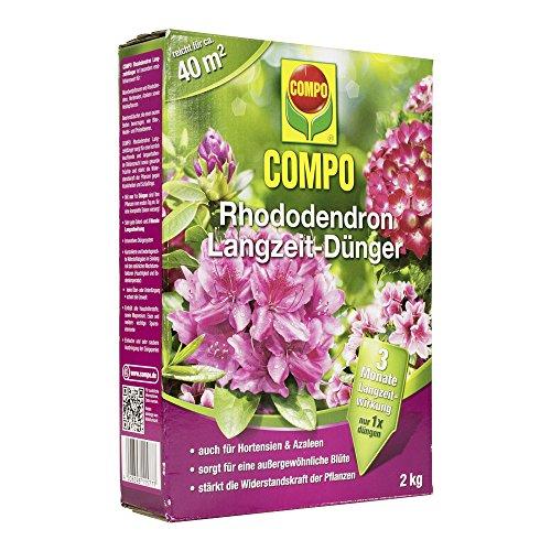 COMPO Rhododendron Langzeit-Dünger für alle Arten von Morbeetpflanzen, 3 Monate Langzeitwirkung, 2 kg, 40m²