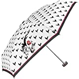 Damen Regenschirm ultraklein und ultraleicht - flacher Taschenschirm mit Hähne eindruck - windfester und kompakter Schirm für die Handtasche oder für die Reise - Perletti Chic (weiß)