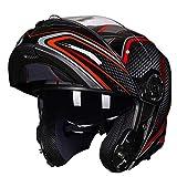GSDZN - Motorradhelm HD Beschlagfreie Linse Halbhelm des Vollgesichtshelm Offener Gesichtshelm Atmungsaktiv Und Warm Vier-Jahreszeiten-Vollgesichtshelm,C-XXL