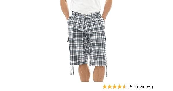 bafce9035dcf Tom Franks Men s Summer Knee Length Check Cargo Shorts Pants (M) Gey White   Amazon.co.uk  Clothing