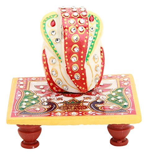 Shining Wings Marble Chowki Ganesha Idol (10 cm x 10 cm x 10 cm)  available at amazon for Rs.115