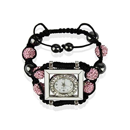 Ducomi® Kriti Zen Shamballa bracciale regolabile 6 sfere cristallo 10 mm (Pink)