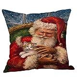 Die besten Kissenbezug Weihnachtsschmuck - Jintime Weihnachtsschmuck Kissenbezug Weihnachtsmann Schneemann Katze Muster, Sofa Bewertungen