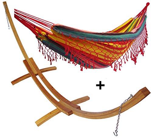 Support demi lune double bois mélèze et son hamac double à franges jaune et rouge, hamac détente