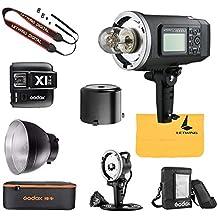 Godox AD600BM Bowens Mount 600Ws GN87 HSS al Aire Libre Flash Strobe Ligero+ X1T-N Transmisor+ CB-09 Portátil Flash Bolsa de almacenamiento+AD-H600B Head+AD600 Extra Litio Batería +LETWING Paño(AD600BM kit Nikon)