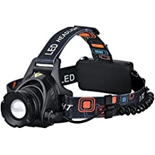 Linterna Frontal LED, Pictek Impermeable Linterna Frontal Lámpara Ajustable Linterna de Cabeza Alto Brillo 1000 Lumen [Alto / Bajo / SOS] 3 Modos Iluminación para Cámping, Pesca, Ciclismo, Carrera